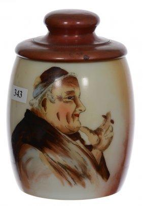 "6 1/2"" Unmarked Handel Ware Humidor - Brown And Rust"