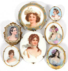 Assortment Of (7) Handpainted Brooches - Each Features