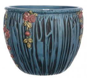 """11"""" X 13"""" Unmarked Weller Art Pottery Jardiniere - Blue"""