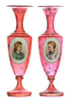 """Pair 10 1/4"""" Bohemian Cranberry Pedestal Art Glass"""