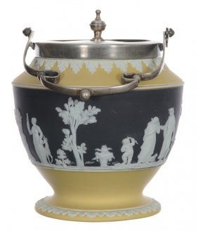 "6 1/2"" Marked Wedgwood Mie Biscuit Jar - Black With"