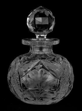 "Cologne Bottle - 5"" - Signed Tuthill Wild Rose Pattern"