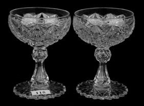 "Pair Champagnes - 4 1/2"" - Pointed Star Pattern By"