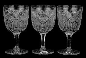 """(3) Water Goblets - 6 1/4"""" - Hindoo Pattern By J. Hoare"""