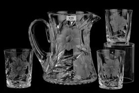 Water Set - Signed Hawkes Gravic Glass