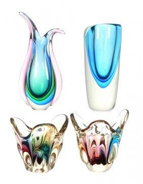 (4) Modern Art Glass Vases Including