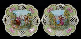 """Pair 12 1/2"""" Marked Bavaria Two-handled Square Trays"""
