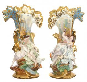 "Magnificent Pair 26 1/2"" Unmarked Old Paris Three"