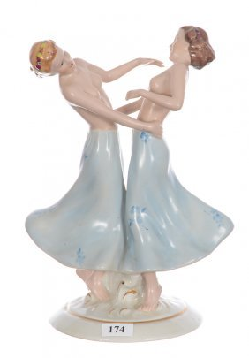 "9 1/2"" Royal Dux Figural Group"
