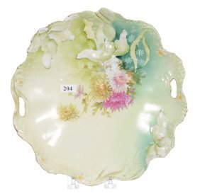 "10 3/4"" Unmarked Prussia Two-handled Cake Plate"