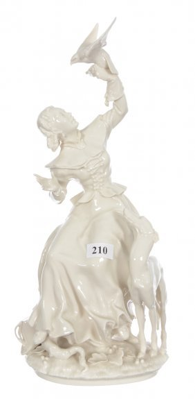 "12"" Hutschenreuther White Porcelain Figural Group"