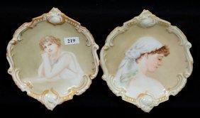 "Pair 7 1/2"" Vienna Austria Portrait Plaques"