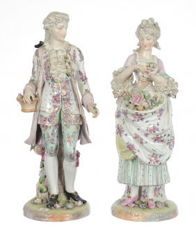 "Pair 22 1/2"" Porcelain Figures"