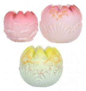 (3) Satin Art Glass Rosebowls Including
