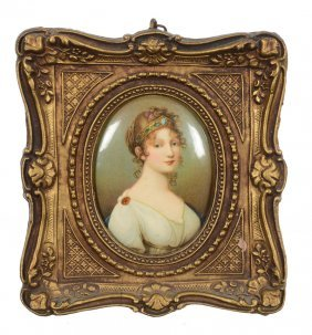 """5 1/2"""" X 5"""" Framed Medallion Portrait Of Young Woman"""