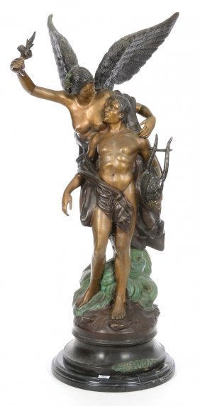 "34"" 20th Cast Bronze Allegorical Group"