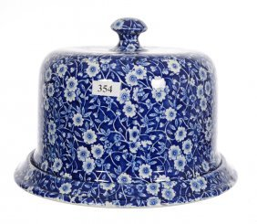 """6 1/2"""" X 9 1/2"""" Staffordshire Flow Blue Covered Cheese"""