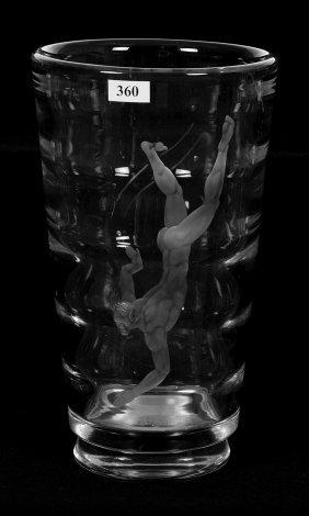 "10 3/4"" X 6"" Signed Orrefors Crystal Art Glass Vase"