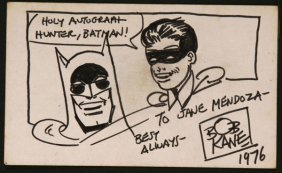 Bob Kane Ink Sketch Of Batman And Robin