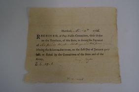 Minute Man Payment Order Circa 1782