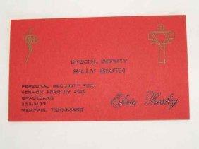 Elvis Handwritten TCB Card And Design