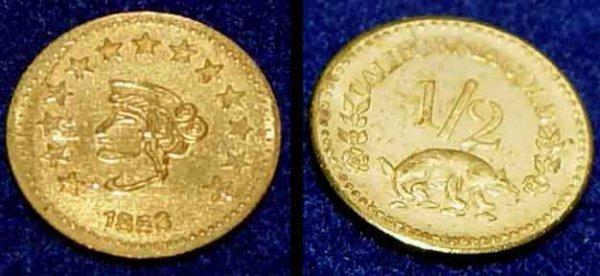 177 1853 California 1 2 Dollar Gold Coin Us Lot 177