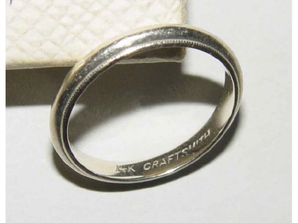 786 14kt gold georg jensen wedding band ring with box for Georg jensen wedding rings