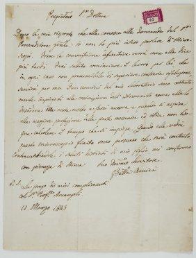 Amici, Giovanni Battista Lettera Autografa Firmata