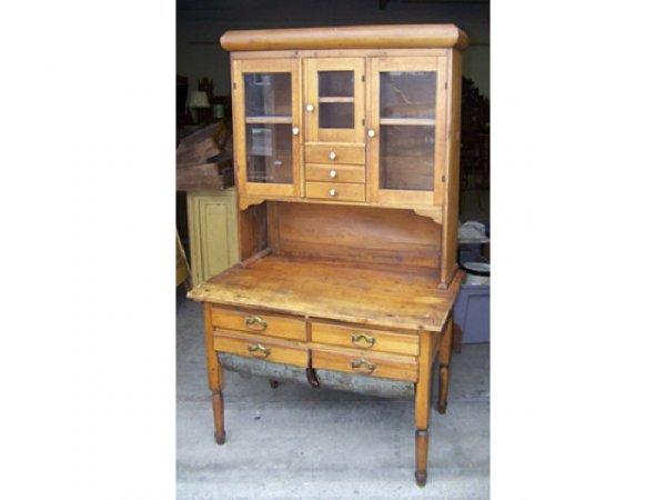 53 antique possum belly pine kitchen cabinet lot 53 for Antique pine kitchen cabinets