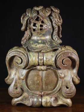 A 17th Century Carved Oak Scrollwork Cartouche Surm