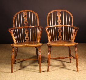 A Pair Of 19th Century Yew Wood Windsor Chairs With