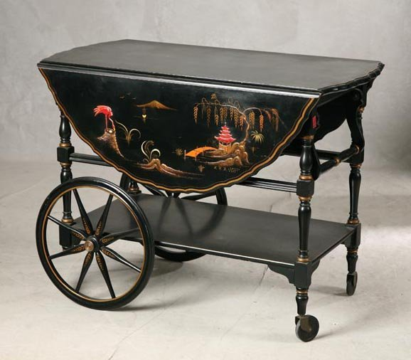 "Oriental Rugs Grand Rapids: 1250: ORIENTAL STYLE TEA CART. Signed Grand Rapids"". Or"