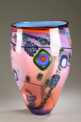 1033 Wes Hunting Art Glass Vase Blown Glass With Pink