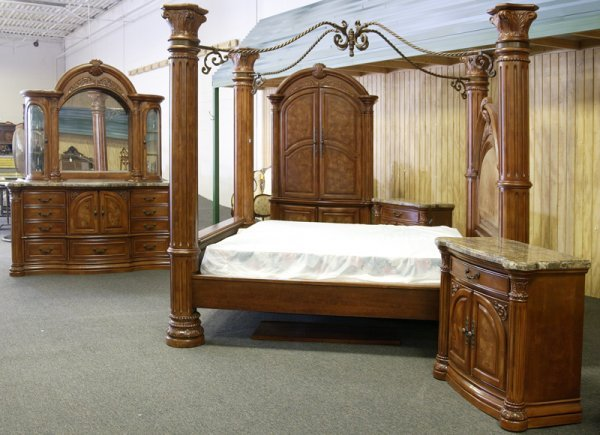 12 Aico Monte Carlo Pecan Finish King Bedroom Set Lot 12