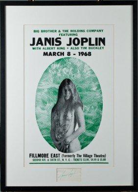 545 Janis Joplin Autographed Concert Poster Lot 545