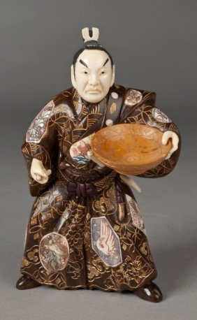 A Fine Japanese Carved Bone & Wood Figure