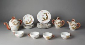 (18) Piece Kutani Porcelain Dragon Wear Tea Set