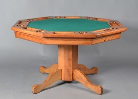 A Fine Octagon Wooden Games Table And Chairs