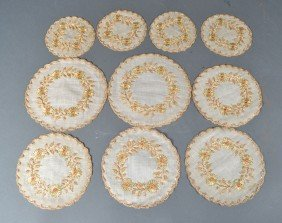 (10) Antique Silk Embroidered Doilies