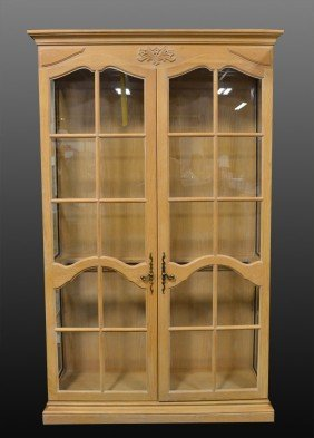 A Fine Country French Wood And Glass China Cabinet