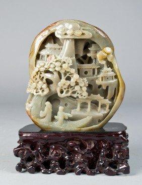 Fine Chinese Carved Hetian Jade Boulder