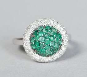 Ladies Emerald, Diamond & 14K Gold Ring