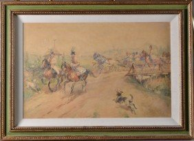 A Fine Julius Kossak Watercolor Painting On Paper