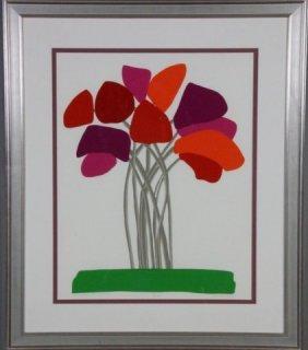 Framed Abstract  Print Of Tulips - Signed Gelakosk