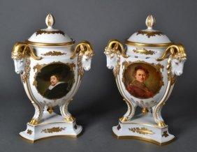 Pair Of Rosenthal Selb Bavarian Porcelain  Urns