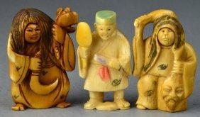 (3) Japanese Carved Ivory Netsuke