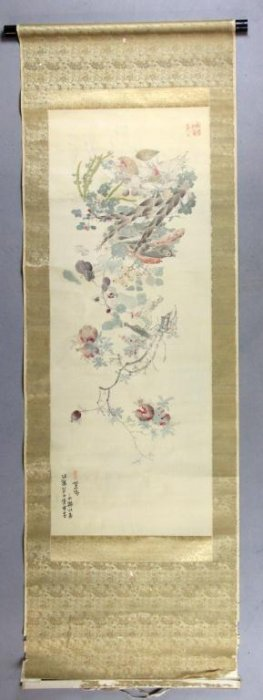 Japanese Meiji Period Scroll Painting On Silk