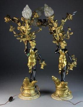 Pr. Empire Gilt Bronze Three-Light Candelabra