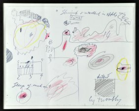 Style Of CY Twombly Drawing On Paper