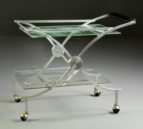 Mid-Century Modern Polished Aluminum Tea Cart